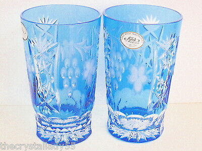 AJKA  MARSALA AZURE  LT BLUE CASED CUT TO CLEAR CRYSTAL HIGHBALL Set of 2