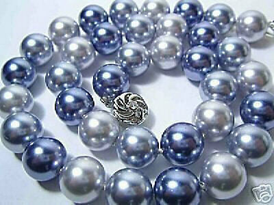 Pretty tribe 12 mm 3 color shell pearl necklace 18""