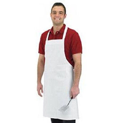 1 White Cotton Restaurant Kitchen Bib Aprons 100% Cotton White Chefs Aprons