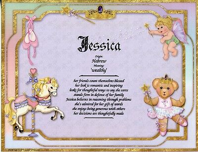 """Little Princess"" Name Meaning Print Personalized (Nursery Girl Gift Baby)"