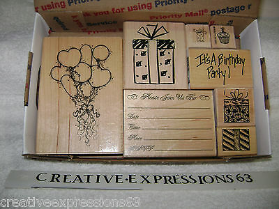 Lot Of Rubber Stamps Birthday Theme Excellent Condition Various Makers