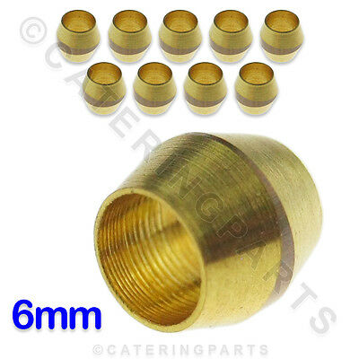 PACK OF 10 x 6mm BRASS OLIVES FOR COPPER TUBING PIPEWORK PILOT TUBE FITTINGS