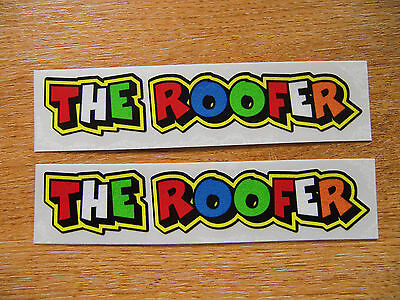 "Valentino Rossi style text - ""THE ROOFER""  x2 stickers / decals  - 5in x 1in"