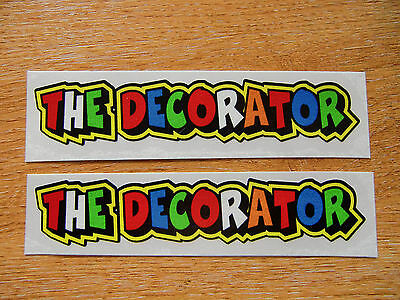 """Valentino Rossi style text - """"THE DECORATOR""""  x2 stickers / decals  - 5in x 1in"""
