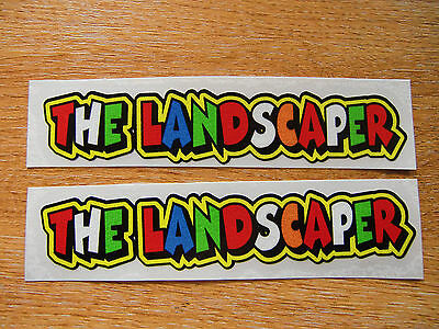 "Valentino Rossi style text - ""THE LANDSCAPER""  x2 stickers / decals  - 5in x 1in"