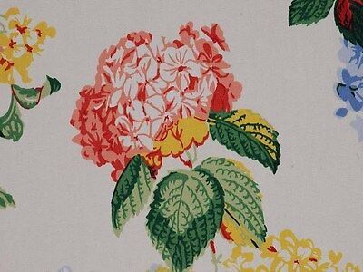 Duralee Large Floral Green Pink Yellow Cotton Drapery Upholstery Designer Fabric