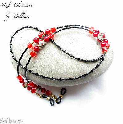 ✫Red Cloisonne✫  Beaded Eyeglasses Glasses Spectacles Chain Holder Cord