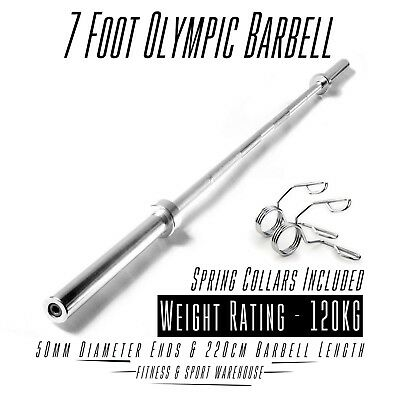 Olympic 7 Foot 300lb Barbell With Collar Gym Weight Bench
