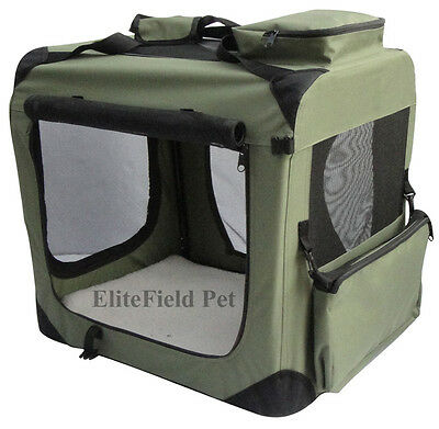 EliteField Sage Green 3-Door Folding Soft Dog Crate Cage Kennel 4 Sizes