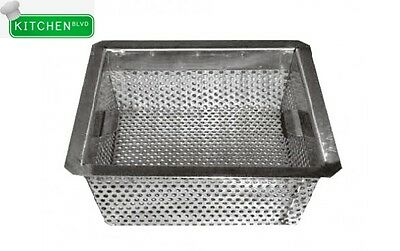 "Stainless Steel Floor Sink Basket. Drop-In 8.5"" x 8.5"" x 3"""