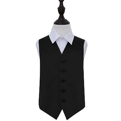 DQT Satin Plain Solid Black Page Boys Wedding Waistcoat 2-14 Years