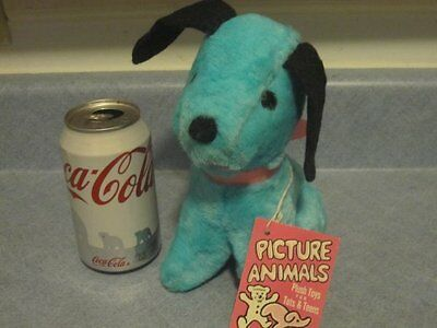 Picture Animals Blue Vintage Plush Dog Puppy Toy Doll 1968 NWT