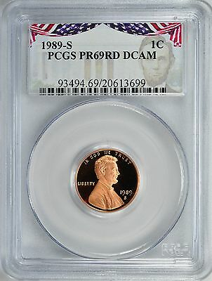 1989-S LINCOLN PROOF 1c CENT PCGS PR69RD DCAM (Bunting Label)
