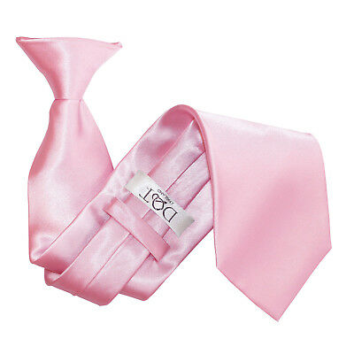 DQT Satin Plain Solid Baby Pink Waiter Security Funeral Clip On Tie