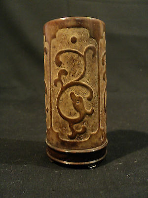 GORGEOUS 19th CENTURY HAND CARVED CHINESE SOAPSTONE BRUSH POT