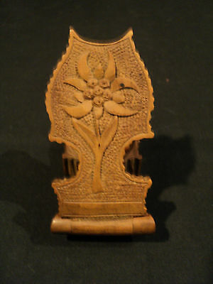 19th CENTURY GERMAN BLACK FOREST CARVED WOOD POCKET WATCH HOLDER / DISPLAY, NICE