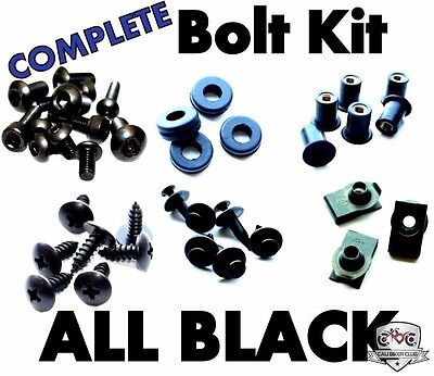Complete Black Fairing Bolt Kit Body Screws for Honda CBR954 954 2002 2003 02 03