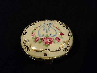 LOVELY 19th C. FRENCH ENAMELED & GILT DECORATED PORCELAIN TRINKET/ PILL BOX