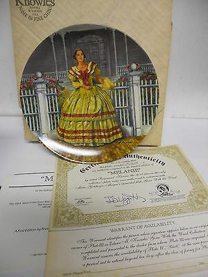 Gone With The Wind Knowles MELANIE  Collectors Plate w/ Certificates