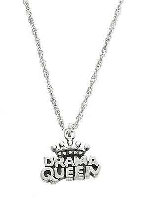 Sterling Silver One Sided Drama Queen Charm With Thin Singapore Chain Necklace