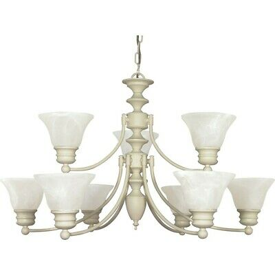 "Nuvo Empire 9 Light 32"" Chandelier w/ Glass Bell Shades - 60-363"