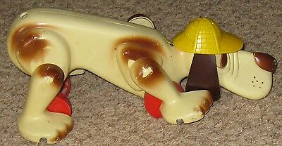 """Vintage Fisher Price 14"""" Blood Hound Dog W Yellow Hat Pull Toy w/o Tail"""