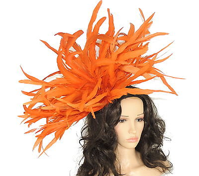 Very Large Burnt Orange Fascinator Hat for weddings/ascot/proms WIth Headband F3