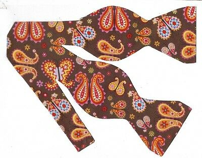 (1) BOW TIE - BUTTERFLY PAISLEY - ORANGE, PINK, YELLOW, RED & BLUE ON BROWN
