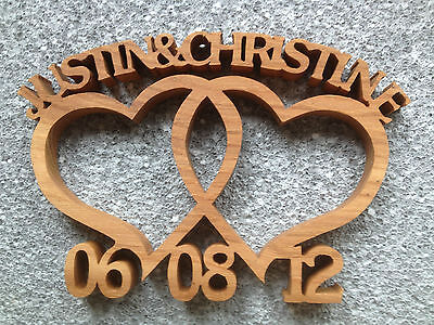 Wooden Entwined hearts.  Custom made wedding/anniversary gift with two names