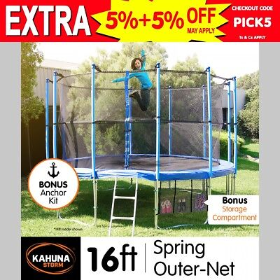 16ft 12-POST ROUND TRAMPOLINE FREE ENCLOSURE SAFETY NET+PAD+MAT+SHOE TIDY+LADDER