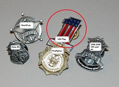 """VINTAGE POLICE FIREFIGHTER MOTORCYCLE 1"""" BADGE LAPEL PIN COLLECTION: USA Flag"""