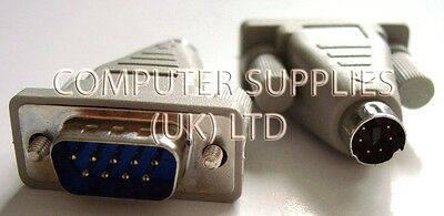 PS/2 SERIAL MOUSE ADAPTER, 6-PIN MINI-DIN PS2 MALE to 9-WAY RS232 DB9 PLUG (M)