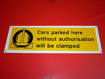 WHEEL CLAMPING private car parking sign 300 x 100 PRE DRILLED plastic F.POST  no