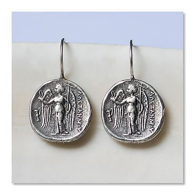 Sterling Silver Artisanal Byzantine Angel Coin Drop Earrings Jewelry