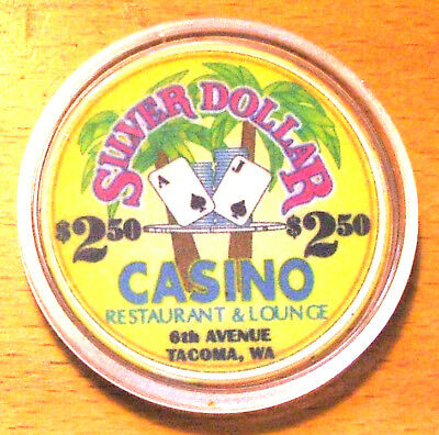 $2.50 Silver Dollar Casino Chip - 6th Avenue - Tacoma, Washington