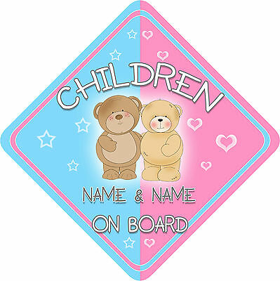 Personalised New Teds Children Child/Baby on Board Car Sign New Blue~Pink !
