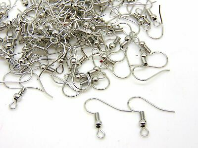50 (25 Pairs) 18mm Silver Coloured Earwires Fish Hook Jewellery Findings K78