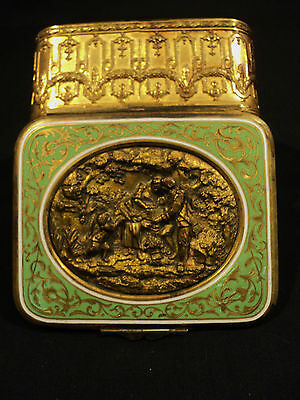 GORGEOUS FRENCH BRONZE and ENAMELED & GILT COVERED BOX, c. 1890
