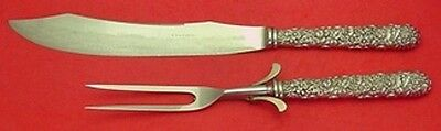 Repousse by Kirk Sterling Silver Roast Carving Set All Around Design 2pc HHWS