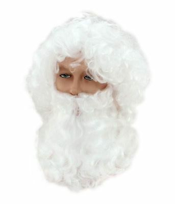 Quality Santa Claus Father Christmas White Wig Beard and Glasses Fancy Dress UK