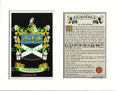 FITZPATRICK Family Heraldic Mount Coat of Arms / Crest + Name History