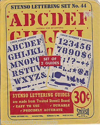 1 INCH ROMAN LETTERS & NUMBERS VINTAGE ART SUPPLLY STENSO LETTERING SET No. 44