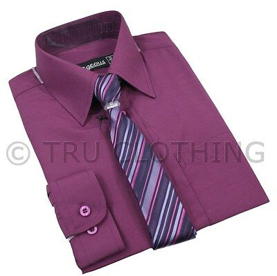 Kids Boys Matching Shirt & Slim Tie Purple Formal Smart