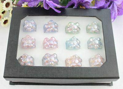 12PCS Mixed Colours Lampwork Flower Glass Rings #21940