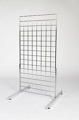 2Ft X 6Ft Chrome Heavy Duty Gridwall Mesh Grid Wall Shop Display Panel On Legs