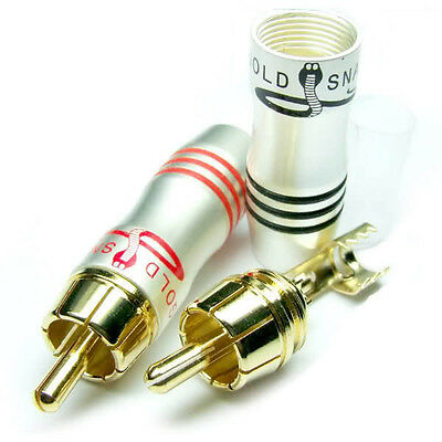 10PCS 24K Gold Plated RCA Male Audio video TV CCTV Power amplifier Speaker Cable