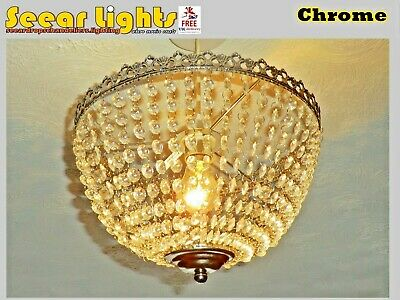 Vintage Look Chandelier Antique Chrome Light Glass Drops Baguette Bag Basket New