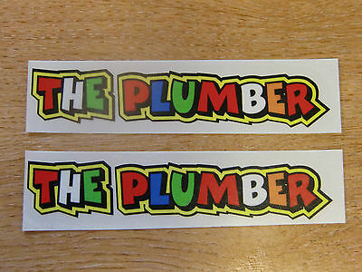 """Valentino Rossi style text - """"THE PLUMBER""""  x2 stickers / decals  - 5in x 1in"""