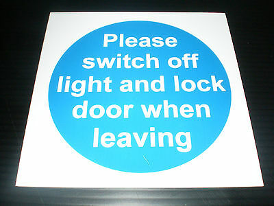 PLEASE SWITCH OFF LIGHT AND LOCK DOOR 100mm x 100mm fire exit safety sign