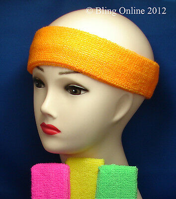 Towelling Sweatband Stretchy Sports Sweat Head Hair Band Pink Red Black Neons
